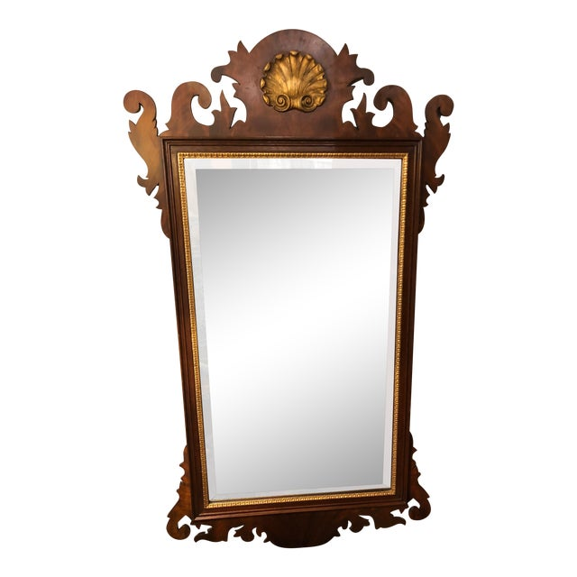 1950s Vintage Traditional Henkel Harris Mahogany Neoclassical Mirror For Sale