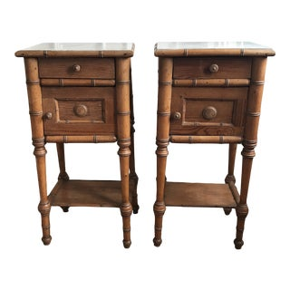 19th Century Victorian Horner Style Bamboo Pine/Maple Nightstands - a Pair For Sale