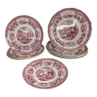 Early 19th Century Red/Pink Staffordshire China - Set of 9 For Sale