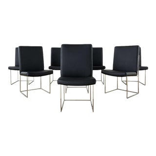 Set of Eight Milo Baughman 1187 Chrome Dining Chairs For Sale