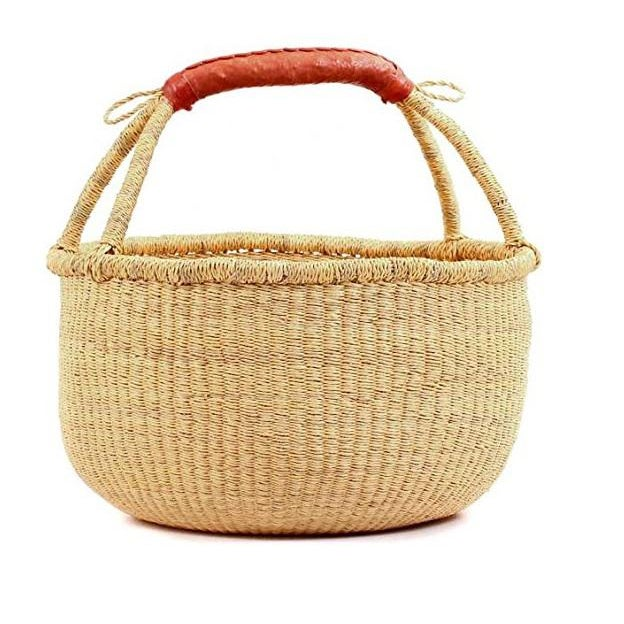 Tan Medium African Bolga Woven Basket For Sale - Image 8 of 8