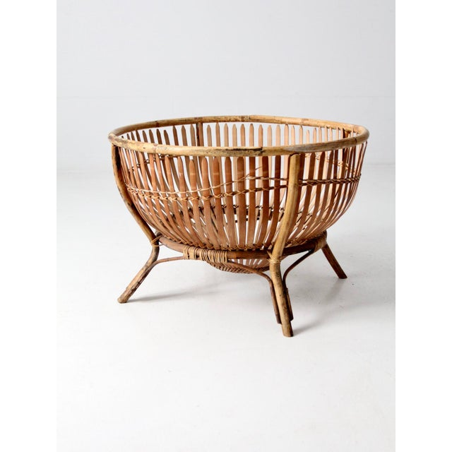 Tan Mid-Century Rattan Basket For Sale - Image 8 of 13
