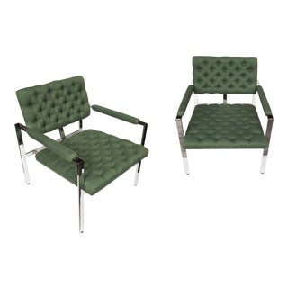 1960s Flat-Bar Chrome Club Chairs by Milo Baughman for Thayer Coggin - a Pair