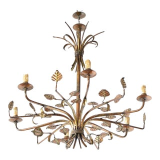 Mid 20th Century Spanish Leafy Chandelier For Sale