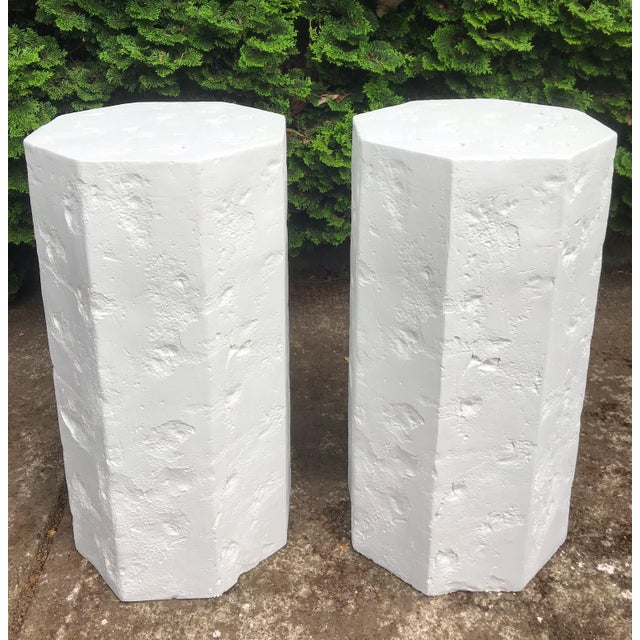 Octagonal Sirmos Style Plaster Quarry Rock Pedestals -A Pair For Sale In Portland, OR - Image 6 of 6