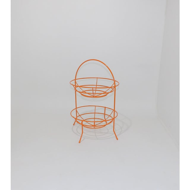 Mid-Century Modern Mid-Century Orange Vintage 2 Tier Fruit or Veggie Basket For Sale - Image 3 of 8