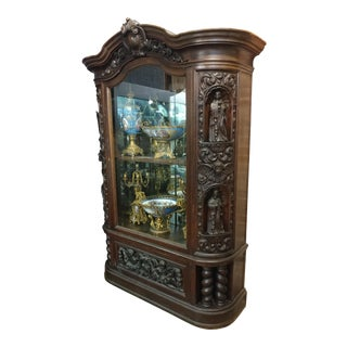 18th Century French Gothic Carved Oak Cabinet W/ Santos & Angels Figures For Sale