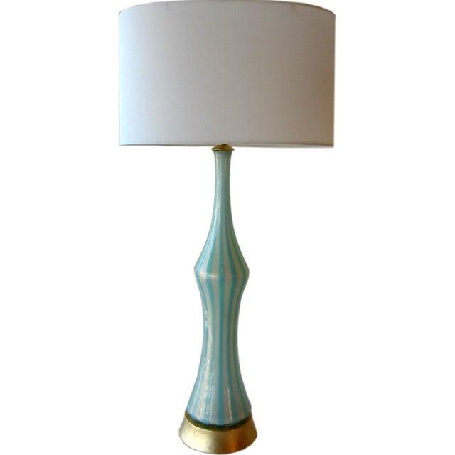 Italian Murano Blue, White and Gold Mid-Century Modern Murano Glass Table Lamp MCM Barbini Venetian Italy - Image 1 of 10