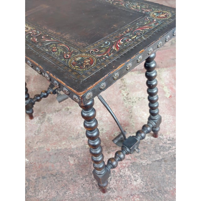 Animal Skin 18th Century Spanish Revival Leather Top Trestle Occasional Table For Sale - Image 7 of 11