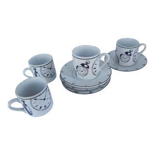 Timepiece Cups & Saucers- 8 Pieces