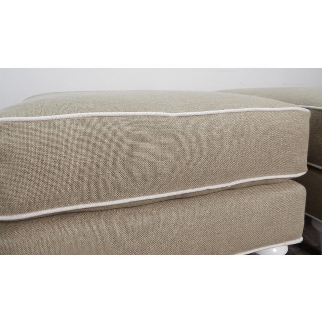 Baker Furniture Company Baker Furniture Ottomans in New Upholstery- a Pair For Sale - Image 4 of 9