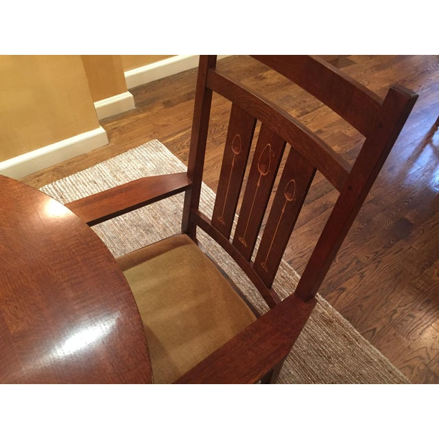 """Round pedestal dining table 52""""DIA x 30""""H with three 15"""" aproned leaves 2 arm chairs 26""""W x 24""""D x 44""""H 4 side chairs 18""""W..."""