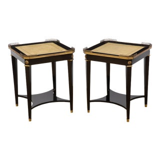 1950s Louis XVI Maison Jansen Leather Topped Side Tables - a Pair For Sale