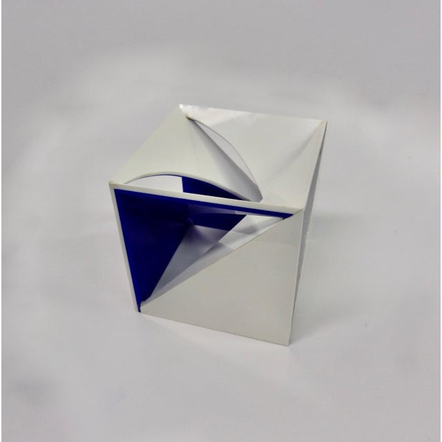 Blue and White Desk Top Lucite Cube Geometric Sculpture For Sale - Image 4 of 10