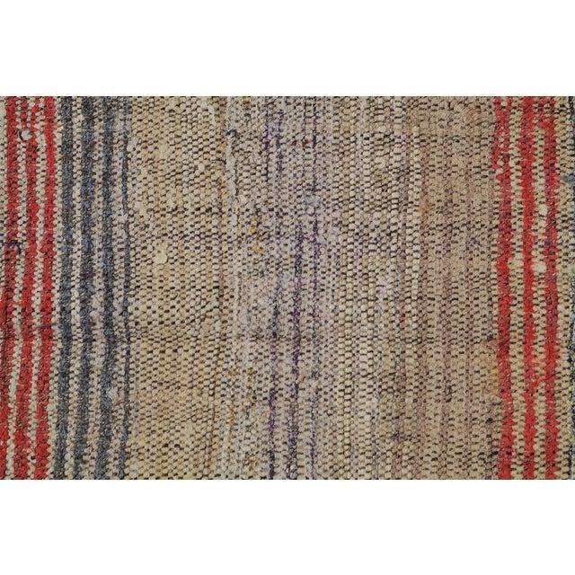 Vintage Turkish Modern Striped Flatweave Handmade Rug - 5′8″ × 8′2″ For Sale - Image 4 of 4