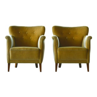 Pair of Small Scale Danish Lounge Chairs in Mohair, Denmark, 1950 For Sale