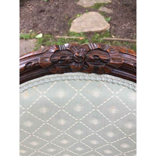 Wood Carved Walnut and Upholstered French Armchair Bergere For Sale - Image 7 of 13