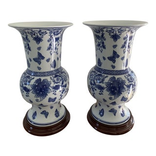 Blue and White Chinese Porcelain Vases on Wood Bases - a Pair For Sale