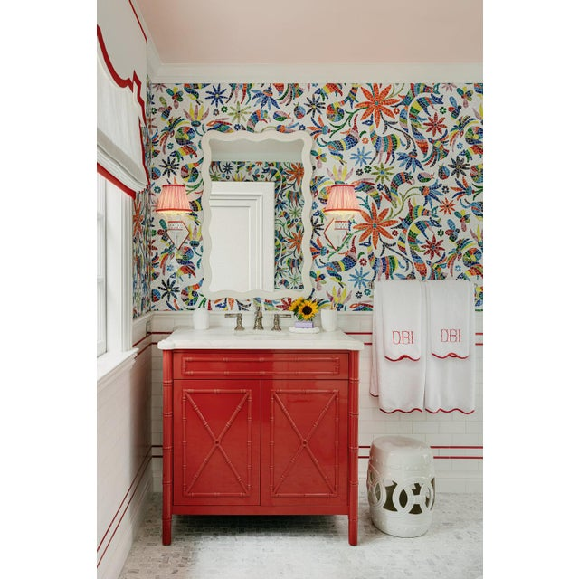 2020s Featured in The 2020 San Francisco Decorator Showcase — C.E.H. Custom Red Lacquered Bamboo Vanity For Sale - Image 5 of 6