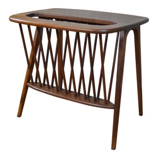 Arthur Umanoff Danish Mid Century Modern Walnut Magazine Table For Sale
