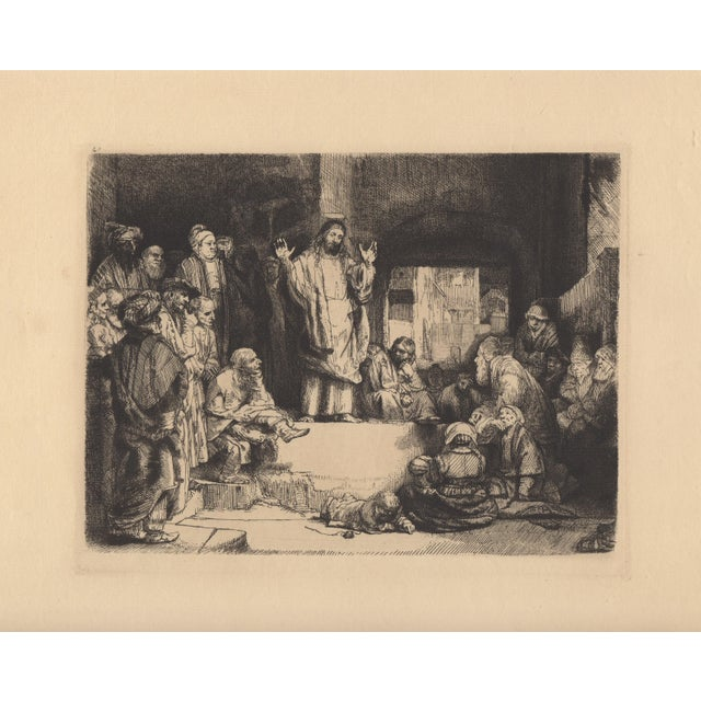 """Early 20th century heliogravure etching after Rembrandt c.1920s Titled """"La Petite Tomb"""" An image of Christ Preaching...."""