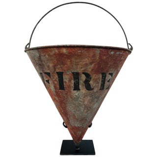 Rare Antique Cone Shaped American Fire Bucket With Custom Stand For Sale