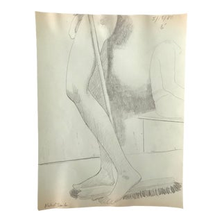 1980 Naked Janitor Studio Drawing For Sale