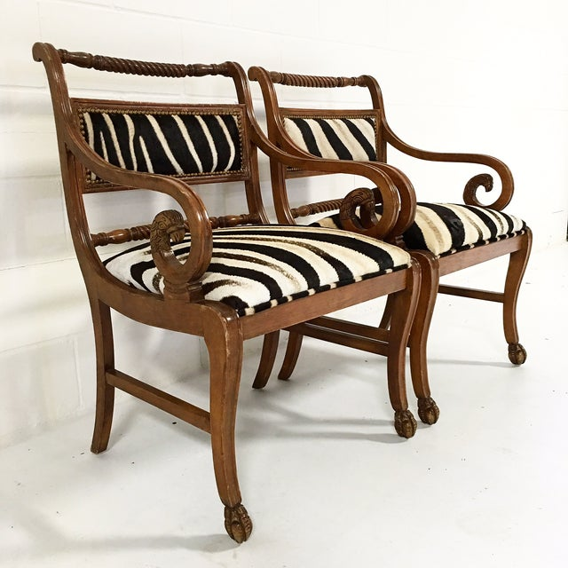 Early 20th Century Vintage Carved Zebra Armchairs - a Pair For Sale - Image 5 of 10