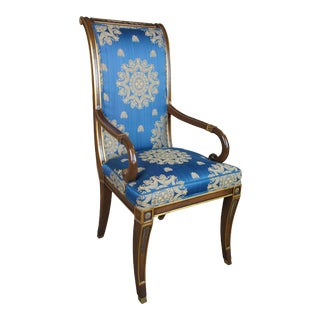 Karges French Neoclassical Regency Scalamandre Fabric Mahogany Dining Arm Chair For Sale