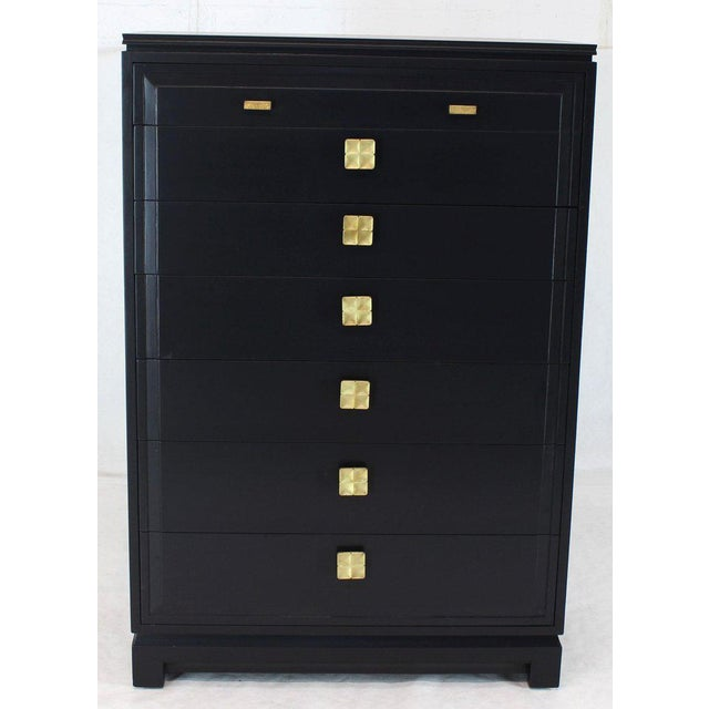 1950s Black Lacquer Tall Decorative Brass Hardware Pulls High Chest Dresser For Sale - Image 5 of 13