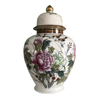 Chinoiserie Style Floral Ginger Jar For Sale
