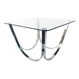 "Chrome-Base Side Table with 3/8"" Thick Glass Top, 22"" high"