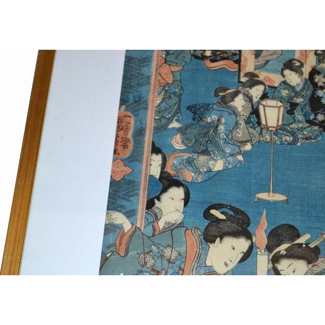 19th Century Utagawa Kuniyoshi Japanese Original Gilt Framed Woodcut Print on Paper C. 1845 For Sale - Image 5 of 11