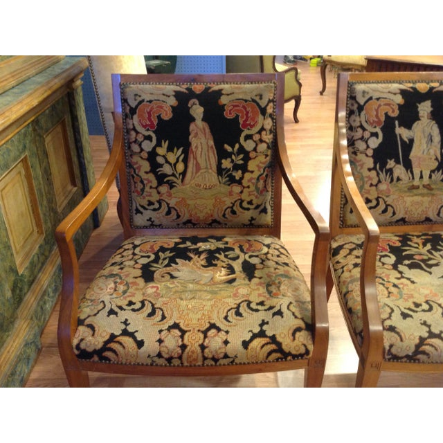 Black Pair of Italian Neoclassic Armchairs For Sale - Image 8 of 13