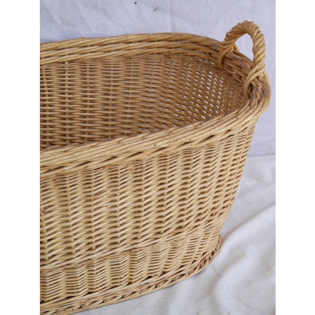 Vintage French Oval Wicker Market Basket - Image 4 of 10