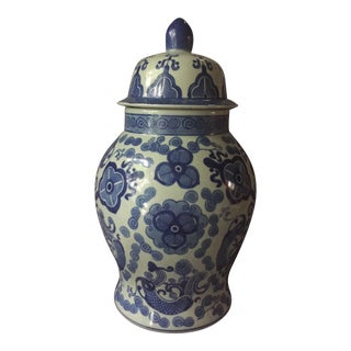 19th Century Antique Blue and White Qianlong Ginger Jar For Sale