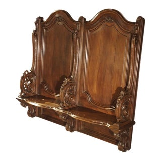 19th Century Sculpted Oak Stall from a Private Chapel in Liege, Belgium