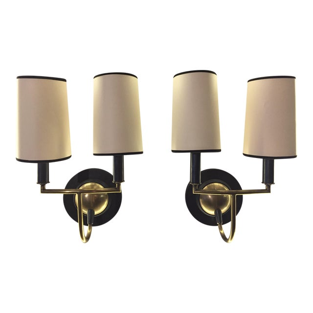 Visual Comfort Bronze & Antiqued Brass Sconces - a Pair - Image 1 of 6