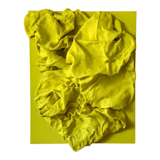 """Lemon Yellow Folds"" Mixed Media Wall Sculpture by Chloe Hedden For Sale"