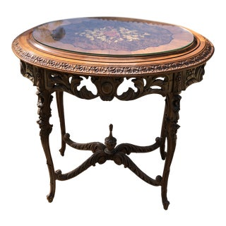 Expertly Detailed Antique French Carved and Inlaid Side Table With Glass Top For Sale