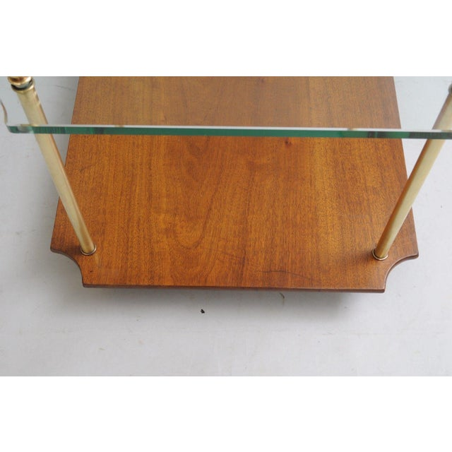 Mid Century Modern Walnut Brass Glass Table - Image 10 of 11