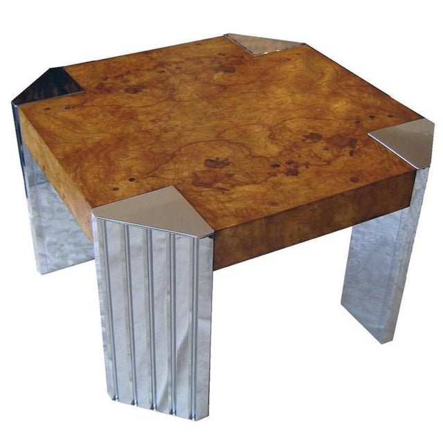 Vintage 1970's burl wood and nickel end table by Milo Baughman for Pace. Substantial fluted nickel plated legs contrast...