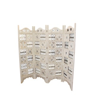 Antique Carved Whitewashed 4-Panel Wood Room Divider For Sale