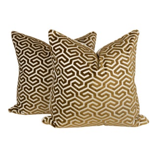 Abstract Cut Velvet Geometric Linen and Silk Pillows, a Pair For Sale