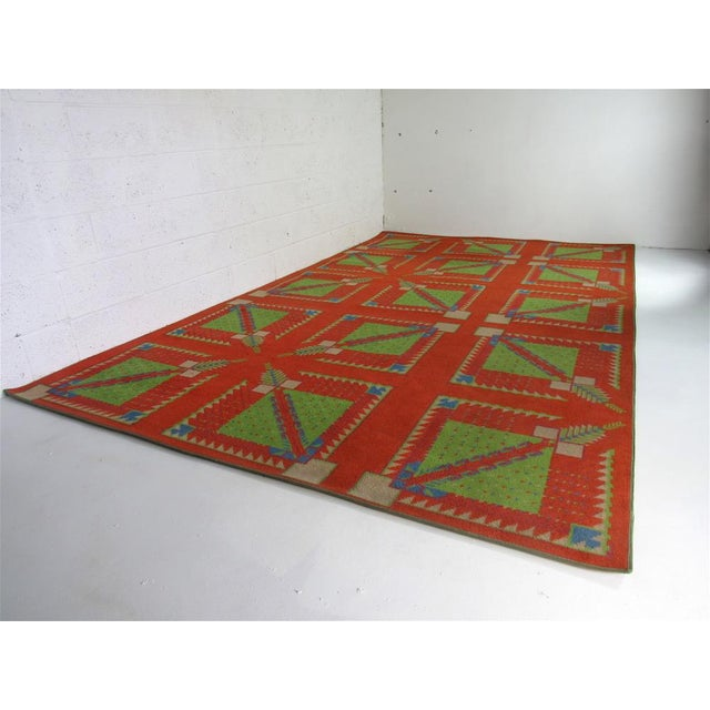 Rare rug custom made for the Arizona Biltmore, circa 1970's. Created by Taliesin Architects after Frank Lloyd Wright...