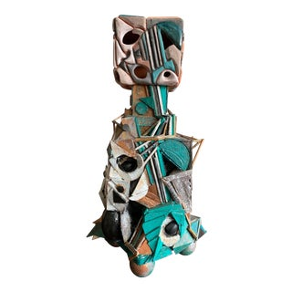 1970s Vintage Abstract Cubist Mixed Media Ceramic Sculpture For Sale