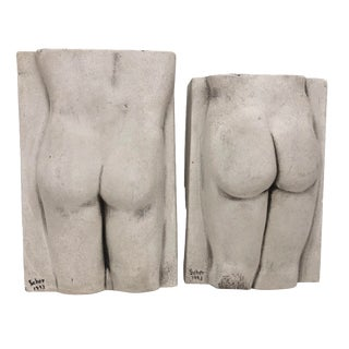 1990s His and Her Nude Plaster and Cement Bookends - a Pair For Sale