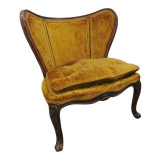 Louis XV Style Walnut Gold Velvet Slipper Chair For Sale