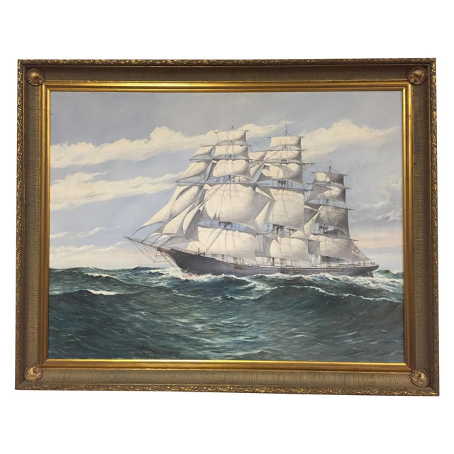 Wendell F. Collum Large Ship Painting - Image 1 of 9