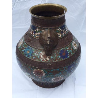 Chinese Bronze Champleve Vase With Ornamented Rooster Handles Preview